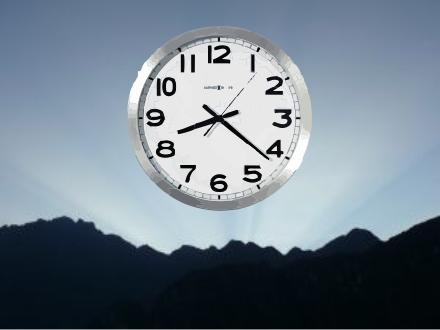 clock at dawn