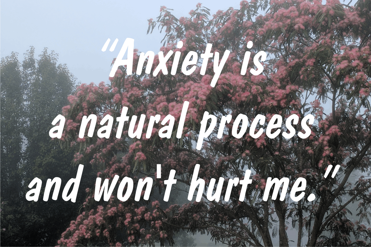 "Coping statement #1: ""Anxiety is a natural process and won't hurt me."""