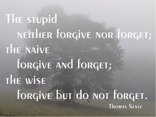 The stupid neither forgive nor forget; the naive forgive and forget; the wise forgive but do not forget. Thomas Szasz