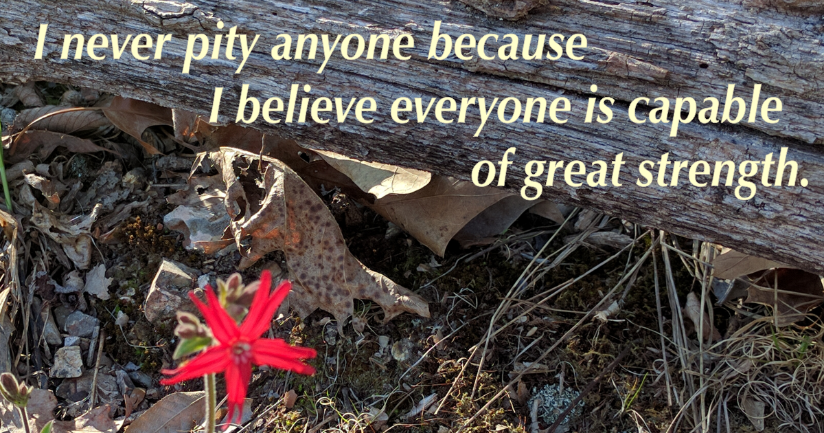 I never pity anyone because I believe everyone is capable of great strength.