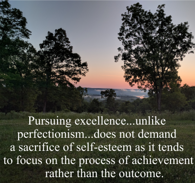 Pursuing excellence...unlike perfectionism...does not demand a sacrifice of self-esteem as it tends to focus on the process of achievement rather than the outcome.