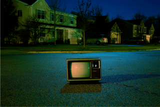 TV in the middle of a street